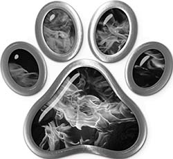 Dog Cat Animal Paw Sticker Decal in Gray Inferno
