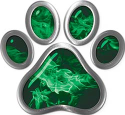 Dog Cat Animal Paw Sticker Decal in Green Inferno