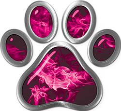 Dog Cat Animal Paw Sticker Decal in Pink Inferno
