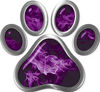 Dog Cat Animal Paw Sticker Decal in Purple Inferno