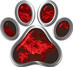 Dog Cat Animal Paw Sticker Decal in Red Inferno