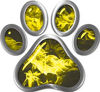 Dog Cat Animal Paw Sticker Decal in Yellow Inferno