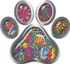 Dog Cat Animal Paw Sticker Decal in Psychedelic Art