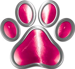 Dog Cat Animal Paw Sticker Decal in Pink
