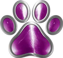 Dog Cat Animal Paw Sticker Decal in Purple