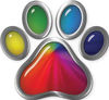 Dog Cat Animal Paw Sticker Decal in Rainbow Colors