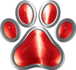 Dog Cat Animal Paw Sticker Decal in Red