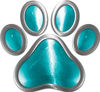 Dog Cat Animal Paw Sticker Decal in Teal