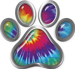 Dog Cat Animal Paw Sticker Decal in Tie Dye Colors
