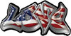 Graffiti Style Love Decal with American Flag