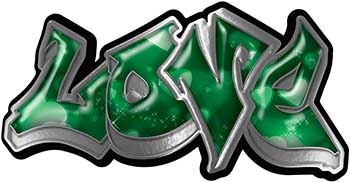 Graffiti Style Love Decal with Green Hearts
