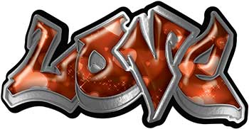 Graffiti Style Love Decal with Orange Hearts