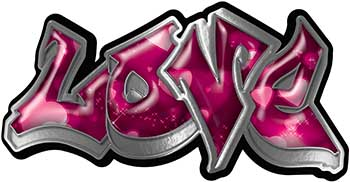 Graffiti Style Love Decal with Pink Hearts