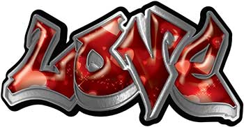 Graffiti Style Love Decal with Red Hearts