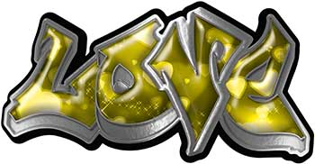 Graffiti Style Love Decal with Yellow Hearts