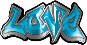 Graffiti Style Love Decal in Teal