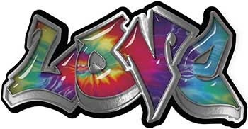 Graffiti Style Love Decal with Tie Dye Color