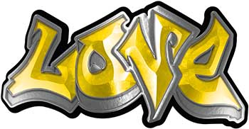Graffiti Style Love Decal in Yellow