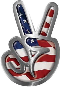Peace Sign Decal with American Flag