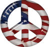 Peace Symbol Decal with American Flag