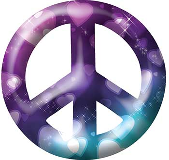 Peace Symbol Decal with Hearts