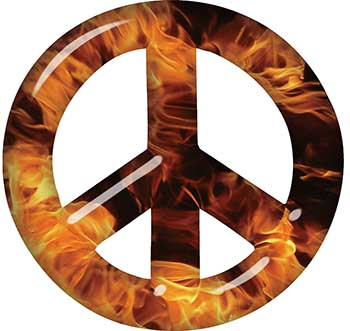 Peace Symbol Decal in Inferno Flames
