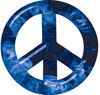 Peace Symbol Decal in Blue Inferno Flames