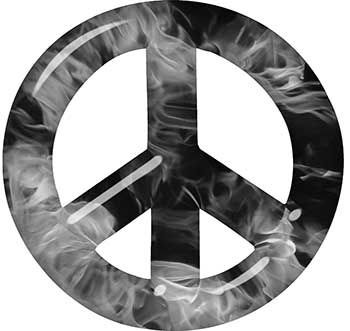 Peace Symbol Decal in Gray Inferno Flames