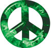 Peace Symbol Decal in Green Inferno Flames