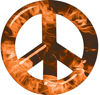Peace Symbol Decal in Orange Inferno Flames