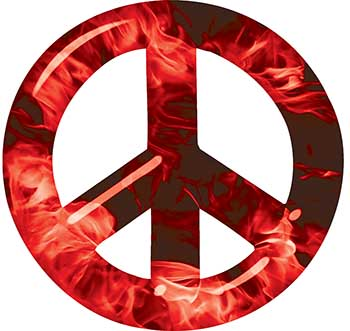 Peace Symbol Decal in Red Inferno Flames