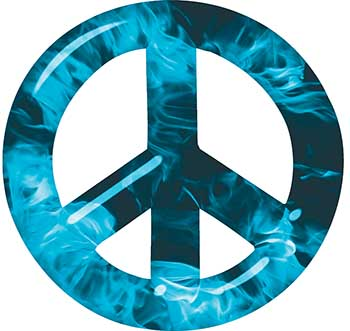 Peace Symbol Decal in Teal Inferno Flames