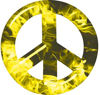 Peace Symbol Decal in Yellow Inferno Flames