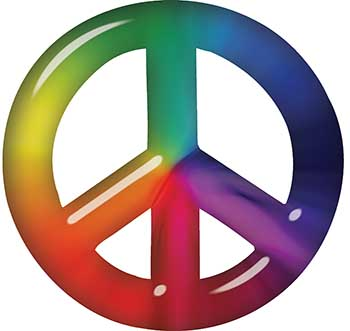 Peace Symbol Decal with Rainbow Color