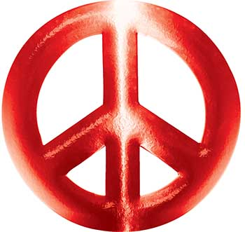 Peace Symbol Decal in Red