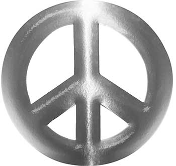 Peace Symbol Decal in Silver