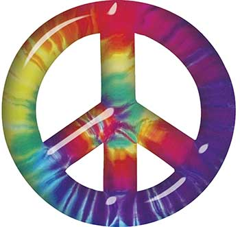 Peace Symbol Decal with Tie Dye Color