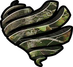 Ribbon Heart Decal in Camouflage