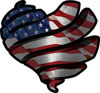 Ribbon Heart Decal with American Flag