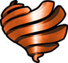 Ribbon Heart Decal in Orange