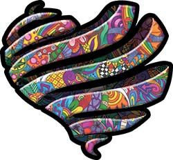 Ribbon Heart Decal with Psychedelic Art