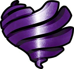 Ribbon Heart Decal in Purple
