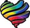Ribbon Heart Decal with Rainbow Colors