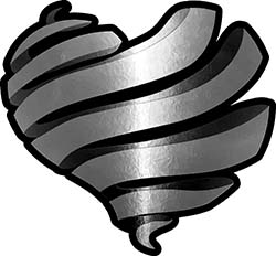 Ribbon Heart Decal in Silver