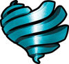 Ribbon Heart Decal in Teal