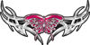 Tribal Wings withFlaming Butterfly In Pink