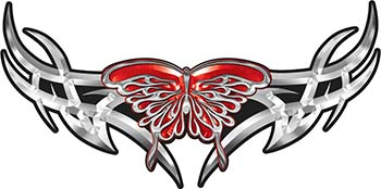 Tribal Wings withFlaming Butterfly In Red