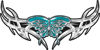 Tribal Wings withFlaming Butterfly In Teal