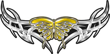 Tribal Wings withFlaming Butterfly In Yellow
