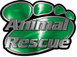 Animal Pet Rescue Paw Decal in Green